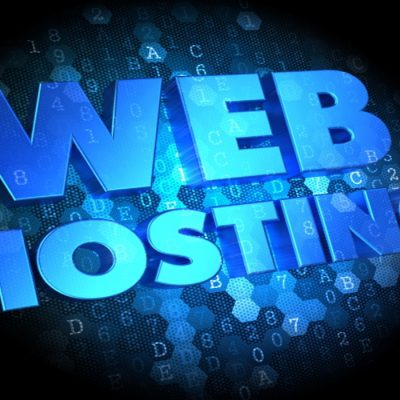 Web Hosting - Blue Color Text on Dark Digital Background.
