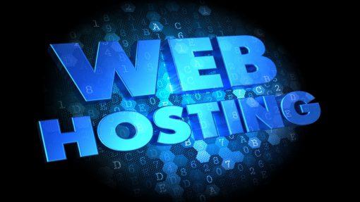 Web Hosting - Blue Color Text on Dark Digital Background.