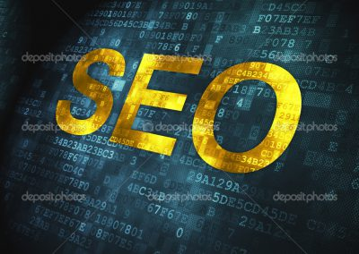 Web design SEO concept: pixelated words SEO on digital background, 3d render
